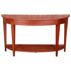 Ethan Allen Solid Cherry Demilune Console Table