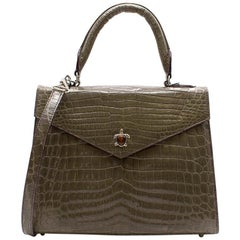 Ethan K Alla Crocodile Medium Top Handle Bag in Gris Fonce Shiny
