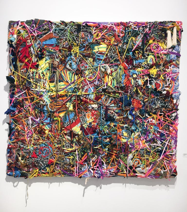 """Ethan Meyer Abstract Sculpture - """"The Magician's Laughter"""", Mixed Media Painting with Yarn and Wool on Canvas"""