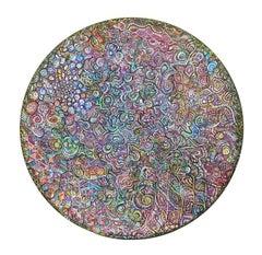 """Sleep Drifter"", Contemporary Abstract Acrylic Painting on Pine Tondo"