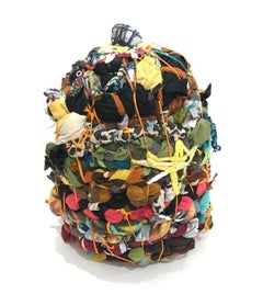Contemporary Abstract Mixed Media Sculpture with Fabric, Thread, and Quartz