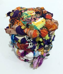 Contemporary Abstract Mixed Media Sculpture, Fabric, Thread, Found Materials