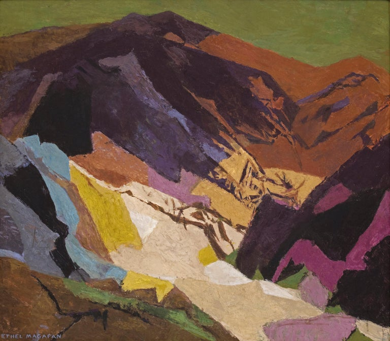 Distant Country, original vintage mid-century modern style painting by 20th century Colorado/Woodstock woman artist, Ethel Magafan (1916-1993) of an abstract Colorado mountain landscape in colors of blue, purple, brown, gold, green and ivory.