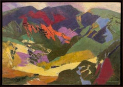 End of the Meadow, Semi Abstract Colorado Mountain Landscape, Green Yellow Red
