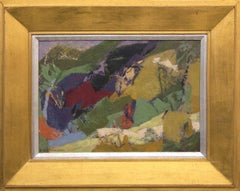 Mountain Lake (Abstract Colorado Landscape in Green, Gold, Red, Purple, Orange)