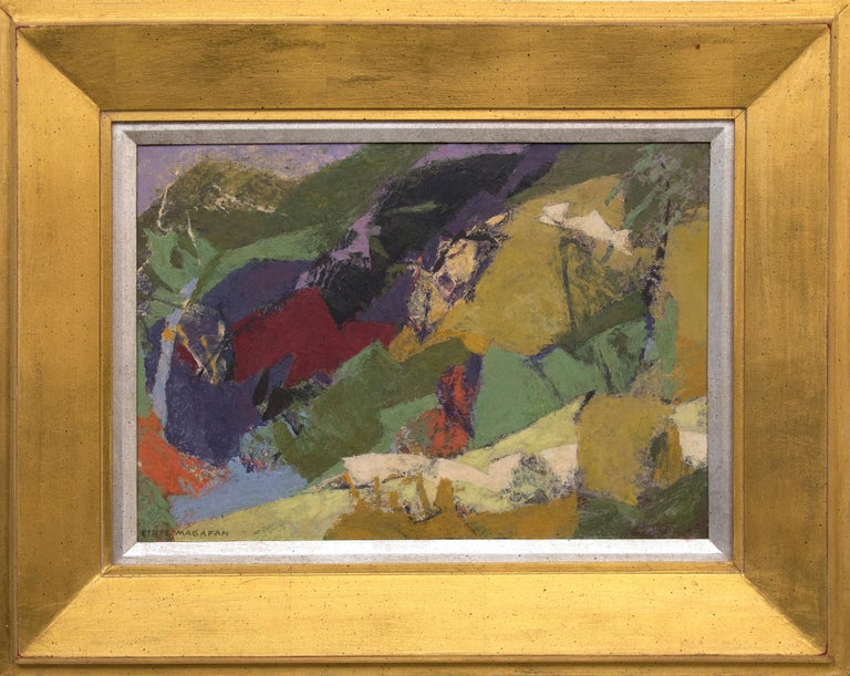 Original painting by mid-20th century Colorado/Woodstock woman artist, Ethel Magafan (1916-1993) of an abstract Colorado mountain landscape in colors of gold, green, purple, orange, blue and ivory.  Presented in a vintage frame, outer dimensions