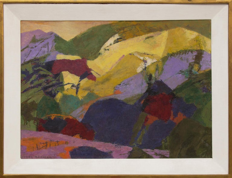 """Vintage mid-century modern style semi-abstract landscape of Colorado """"Mountains above the Meadow"""" by 20th century Colorado/Woodstock woman artist, Ethel Magafan (1916-1993).  Painted in colors of purple, pink, yellow, green, brown and golden yellow."""