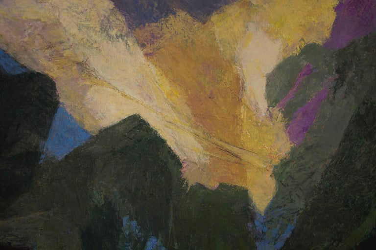 Original semi-abstract/modernist painting of Mount Sopris by Colorado & Woodstock, NY mid-twentieth century woman artist, Ethel Magafan (1916-1993).  Mt. Sopris is located near Aspen and Carbondale in Colorado.  Presented in a vintage frame, outer