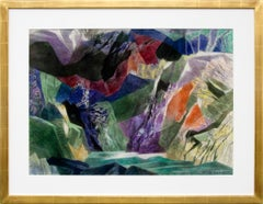 On Coming Storm, Vintage 1955 Semi-Abstract Colorado Mountain Landscape Painting