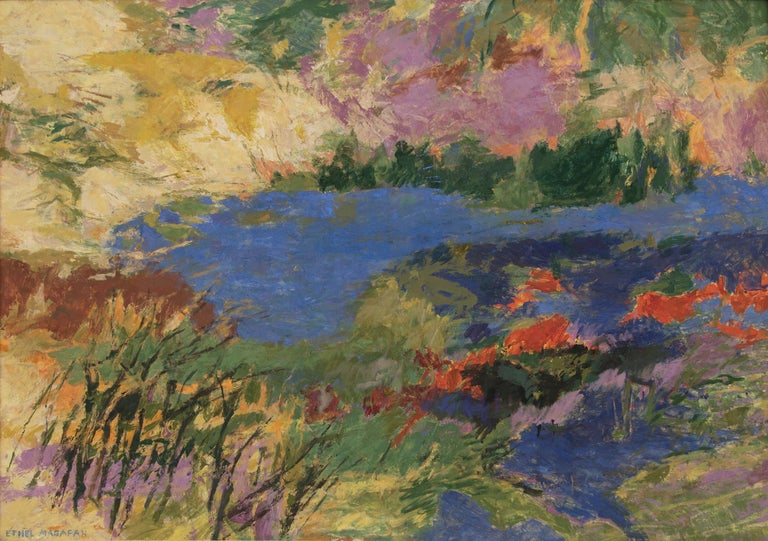 Quiet Water, original vintage mid-century modern style painting by 20th century Colorado/Woodstock woman artist, Ethel Magafan (1916-1993) of an semi-abstract/impressionist Colorado mountain landscape with a pond in colors of blue, orange, purple,