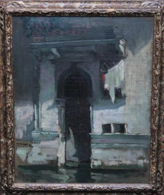 Venice Palace Doorway - British Venetian Art 20's oil painting Italy