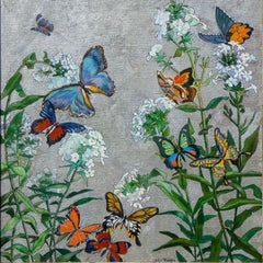 "American Impressionist Oil Painting, Circa 1940s, ""Phlox and Butterflies"","