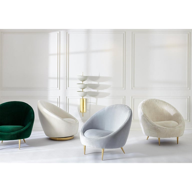 Brass Ether Lounge Chair in Shearling For Sale