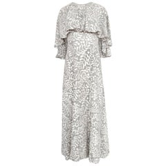 Ethereal 1970s James Galanos Pale Grey & White Floral Print Silk Dress