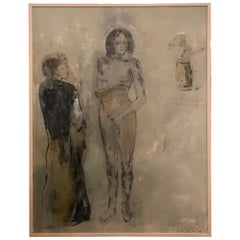 Ethereal Nude Painting by Phillipe Vasseur in Greys