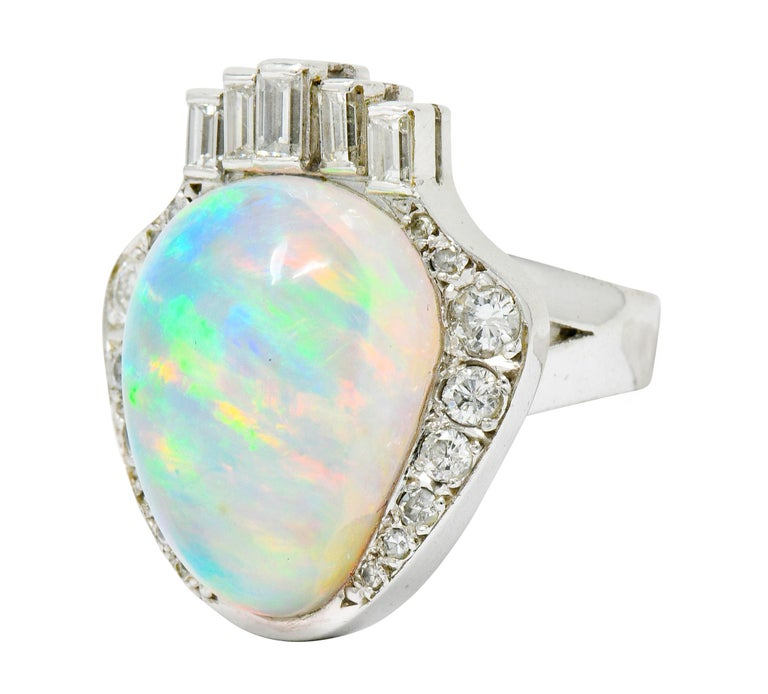 Women's or Men's Ethereal Opal Cabochon Diamond 14 Karat White Gold Cocktail Ring For Sale