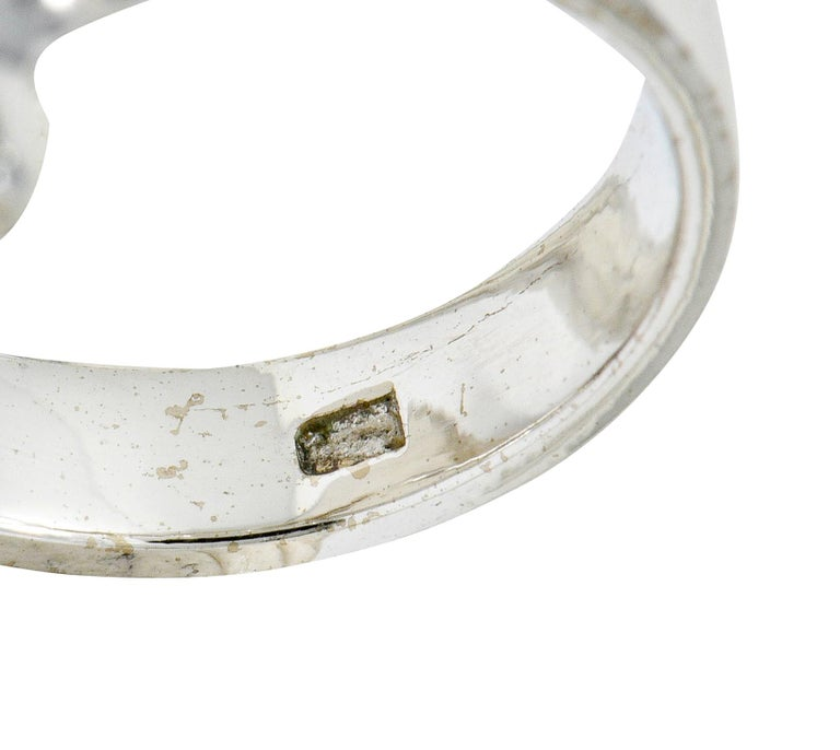 Ethereal Opal Cabochon Diamond 14 Karat White Gold Cocktail Ring For Sale 1