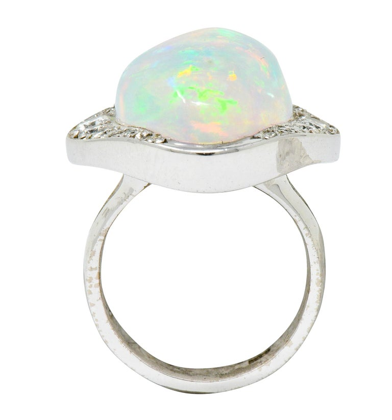 Ethereal Opal Cabochon Diamond 14 Karat White Gold Cocktail Ring For Sale 2