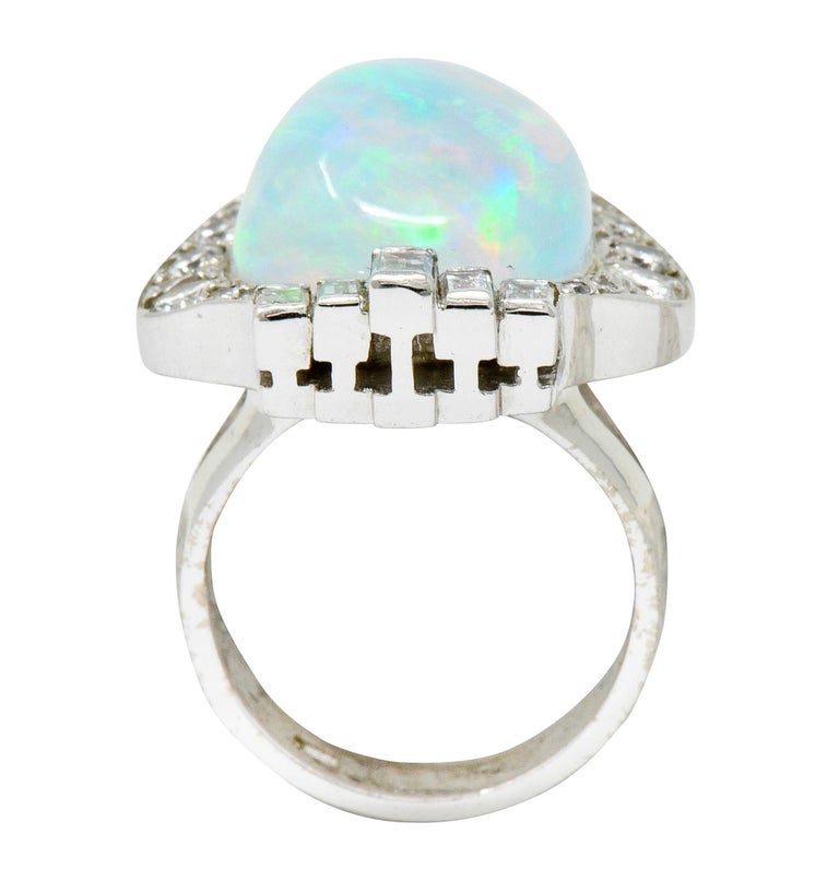 Ethereal Opal Cabochon Diamond 14 Karat White Gold Cocktail Ring For Sale 3