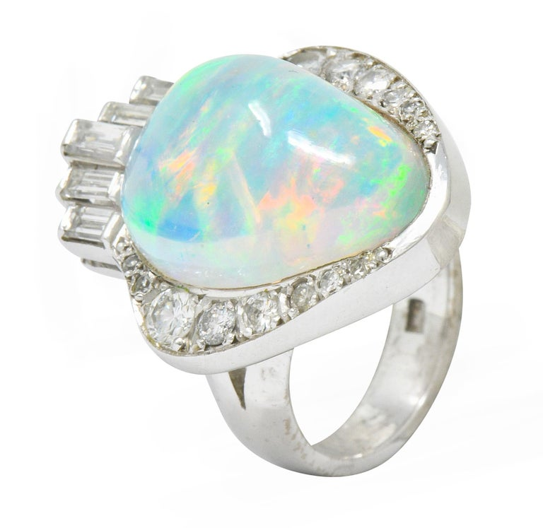 Ethereal Opal Cabochon Diamond 14 Karat White Gold Cocktail Ring For Sale 4