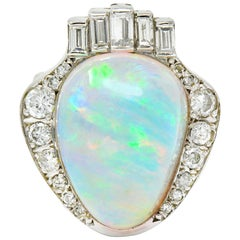 Ethereal Opal Cabochon Diamond 14 Karat White Gold Cocktail Ring