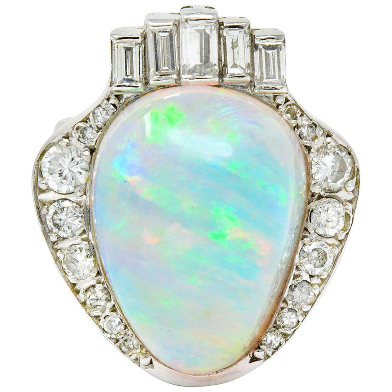 Ethereal Opal Cabochon Diamond 14 Karat White Gold Cocktail Ring For Sale