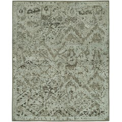 """Ethereal"" Silver Beige Hand-Knotted Area Rug"