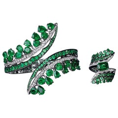 Ethically Sourced Emeralds, Bracelet & Cocktail Ring Suite in Diamonds & Emerald