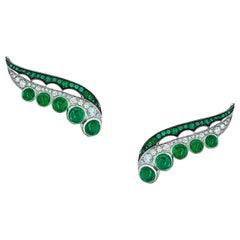 Ethically Sourced Emeralds Earrings, in 18K White Gold and White Diamonds
