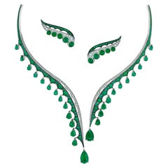 Ethically Sourced Emeralds Necklace and Earrings, in 18 Karat Gold and Diamonds