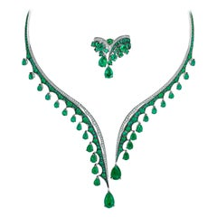 18K White Gold, White Diamonds and Ethically Sourced Emeralds Necklace and Ring
