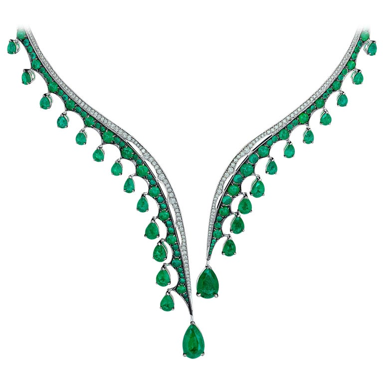 This magnificent set is part of our iconic heritage collection, Legends of Africa.    Vania celebrates the beauty and strength of her African homeland with intricate designs, infused with the intensity of the finest emeralds and exquisite diamonds.