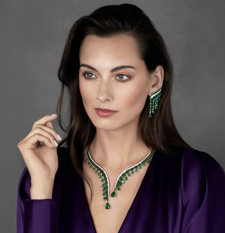 Women's 18K White Gold, White Diamonds and Ethically Sourced Emeralds Necklace and Ring For Sale
