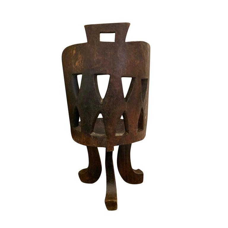 1950s Ethiopian traditional Ethiopian carved wood barrel back design side chair Dark brown.