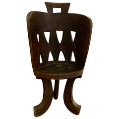 Hand Carved Dark Brown Ethiopian Barrel Back Wood Side Chair, Africa, 1950s