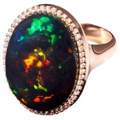 Ethiopian Black Opal Ring with Diamonds in 18 Karat Rose Gold