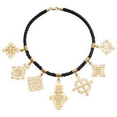 Ethiopian Coptic Cross Yellow Gold 18 Karat Pendants Necklace
