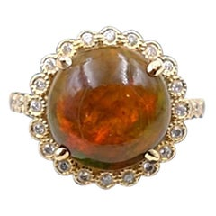 Ethiopian Fire Opal Round Shape Ring size 6