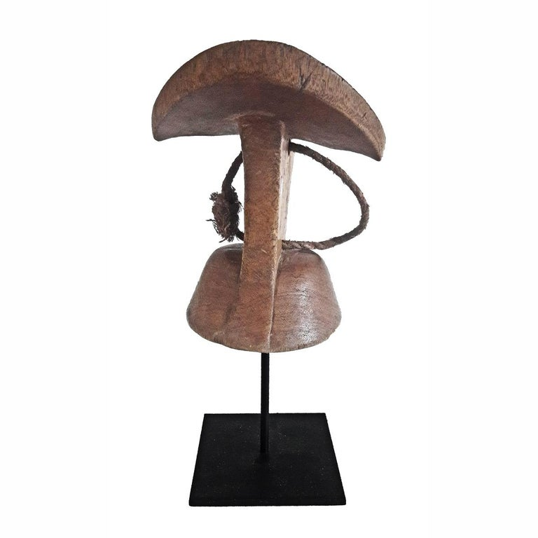 Tribal Ethiopian Hand Carved Teak Wood Headrest For Sale