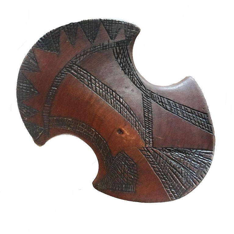 Late 20th Century Ethiopian Hand Carved Teak Wood Headrest For Sale