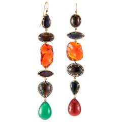 Ethiopian, Mexican Opal and Agate Drop Earrings with Diamonds in 18 Karat Gold
