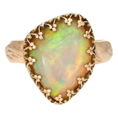 Ethiopian Natural Fire Opal Ring Estate 14 Karat Yellow Gold Trefoil Crown Mount