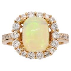 Ethiopian Opal and Diamond 18 Karat Rose Gold Ring