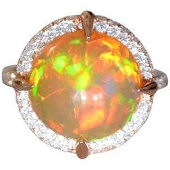 Ethiopian Opal and Diamond Engagement Ring Set in Rose Gold, Ben Dannie Design