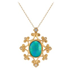Ethiopian Opal and Diamond Gold Medallion Necklace