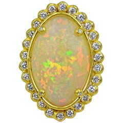 Ethiopian Opal and Diamond Halo 22 Karat Gold Cocktail Ring