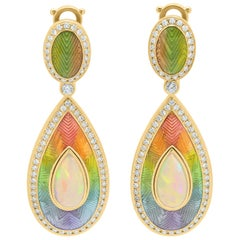 Ethiopian Opal Cabochon 2.80 Carat Diamonds 18 Karat Yellow Gold Enamel Earrings