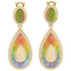 Ethiopian Opal Cabochon 2.80 Carat Diamonds 18 Karat Yellow Gold Enamel Earrings