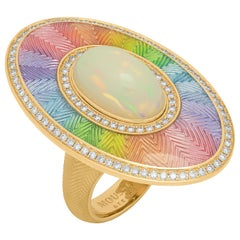 Ethiopian Opal Cabochon 5.22 Carat Diamonds 18 Karat Yellow Gold Enamel Ring