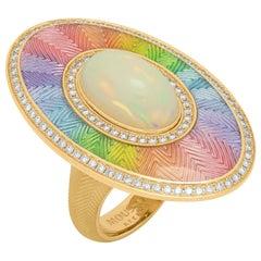 Ethiopian Opal Cabochon 5.22 Carat Diamonds 18 Karat Yellow Gold Enamel Ring